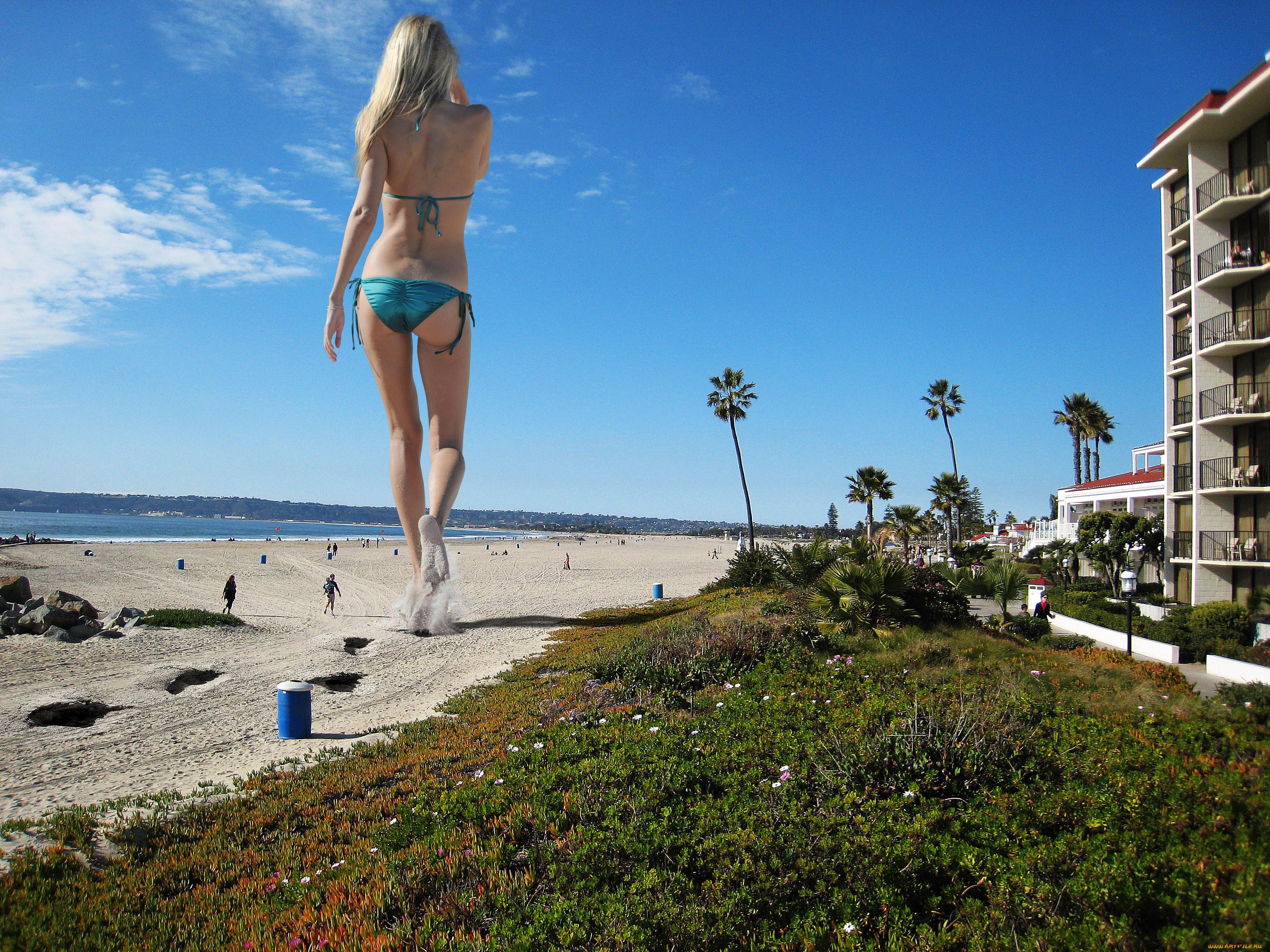Креативные, пляж, девушка.